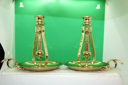 A Pair Of Baldwin Brass Pendulum 7 Inch Candle Holders With Finger Holders