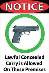 8in X 12in Lawful Concealed Carry Allowed Magnet Car Truck Vehicle Magnetic Sign