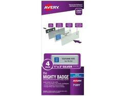 """The Mighty Badge, 1""""x3"""" Silver, 4 Reusable Name Tags 32 Inkjet Inserts"""