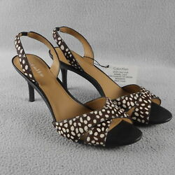 Calvin Klein Lucette Brown/white Spotted Pony Hair Spike Sandal 8 Us 38 Eu