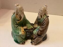 Antique Asian Chinese Mudmen Sitting At Game Table 3 3/4andrdquo H