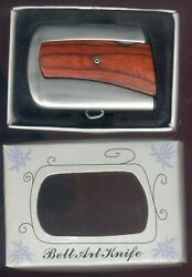 VINTAGE LOCK BACK KNIFE BELT BUCKLE WITH BOX CHINA 440 STAINLESS