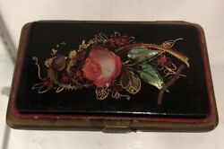 Mid 1800's French Coin Purse Paris victorian Lacqured Mother Of Pearl Inlay