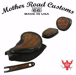 2014-21 Indian Chief Antbrn Tooled Spring Seat Mounting Kit Pad Back Rest Bib Bs