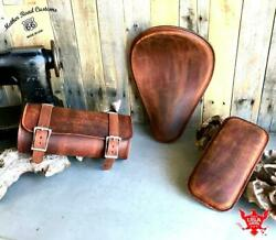 Spring Seat P-pad Tool Roll Harley Chopper Bobber 11x14 201 Brown Dist Leather