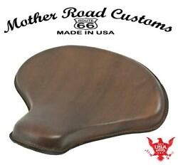 15x14 Soft Brn Leather Spring Solo Tractor Seat Chopper Bobber Harley Sportster