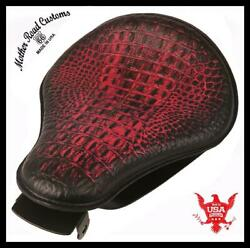 2010-2021 Sportster Harley Spring Solo Seat Mount Kit Ant Red Gator Leather Bcs