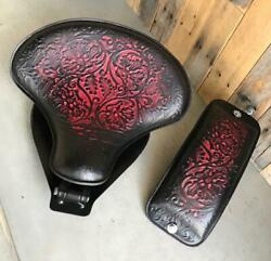 2000-2017 Harley Softail Spring Seat And Pad Ant Red Oak Leaf Leather Mounting Kit