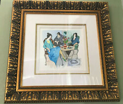 Three Ladies At Lunch By Tarkay Water Color, Drawing, Mixed Media On Wove Paper.
