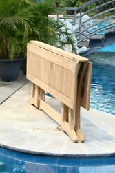 7-piece Outdoor Teak Dining Set 69 Console Table 6 Stacking Arm Chairs Goa