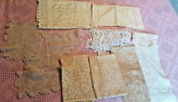 Vintage Lot Of Exquisite Lace Table Runners Hand Crocheted Doilies Linens 12 Pcs