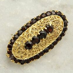 18 K Kt Ct Solid Yellow Gold 750 And Natural Garnet Italian Oval Brooch Pin