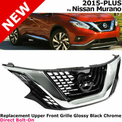 For 15-18 Nissan Murano | Front Upper Grille Exterior Trim Assembly Black Chrome