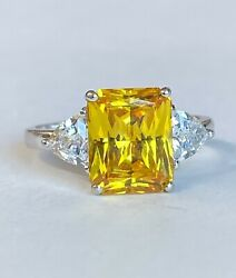 14k White Gold And Citrine Chunky Big Stone Women's Ring Any Size Make An Offer