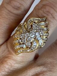 Vintage 14k Yellow Gold And 2.00 Ct Diamond Ladies / Womens Cocktail Ring Any Size
