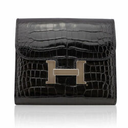 Hermes Constance Compact Black Crocodile PHW Wallet in Box