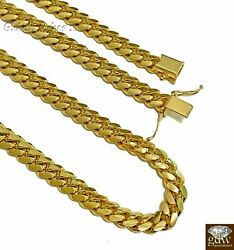 Real 10k Yellow Gold Miami Cuban Chain 7mm Necklace 22-26 Box Lock Solid 10k