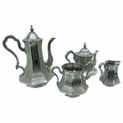 Skinner And Co. Art Nouveau Engraved Silver Plated English Tea Service Circa 1890