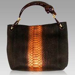 Silvano Biagini Designer Chocolate Opal Genuine Python Leather Bag wDog Handle $1,694.00