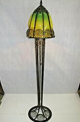 Vintage Art Deco Style Wrought Iron Floor Lamp And Green Glass Shade
