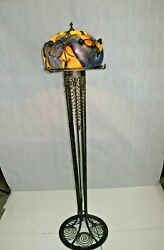 French Art Deco Style Wrought Iron Floor Lamp With Blown Glass Shade