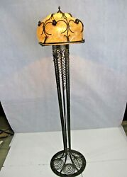 French Art Deco Style Wrought Iron Floor Lamp And Glass Shade