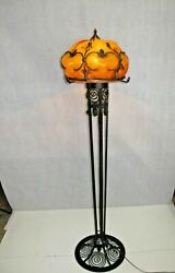 French Reproduction Art Deco Wrought Iron Floor Lamp And Glass Shade