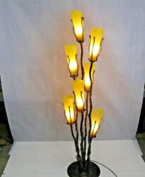 Wrought Iron Floor Lamp And 7 Signed Mouth Blown Yellow Glass Shades