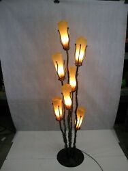 Wrought Iron Floor Lamp And 7 Signed Mouth Blown Amber Glass Shades