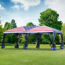 10x20ft Pop Up Party Tent Gazebo Canopy Market Instant Shelter American Flag