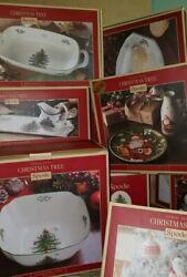 New Spode Hand Painted Christmas Tree Assorted Platters Dishes Trays Glasses