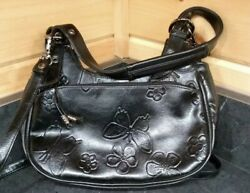 Black Faux Tooled Leather Butterfly Design Purse