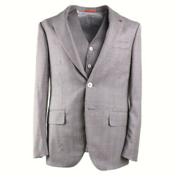 Nwt 4895 Isaia Modern Fit Three-piece Layered Check Wool Suit 38 R Eu 48