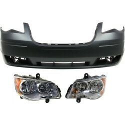 Bumper Cover Headlight Kit For 2008-2010 Chrysler Town And Country Front