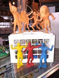 Vintage 1964 Louis Marx And Co. Native American Figurines Lot Of 9