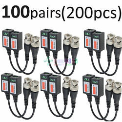 200 Pcs -km45 Cctv Passive Transceiver Video Balun Twisted Bnc Connector Cable