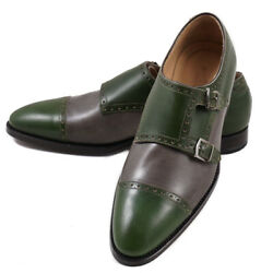 Nib 2950 Kiton Green And Gray Leather Double-buckle Monk Strap Us 9 Dress Shoes