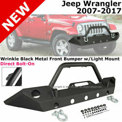 For 07-17 Jeep Wrangler | Black Metal Front Bumper Thick Steel Oe Size Fog