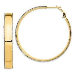 Italian 14k Two Tone Gold 7.5mm X 47mm D/c Wire Accent Hoop Earrings Omega Back