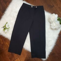 St. John Sport Ponte Nautical Trouser With Silver Buttons Pockets Size 2