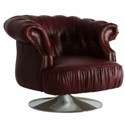 Marquesslife Antique Full Genuine Aged Leather Hamdmade Tufted Swivel Sofa Chair