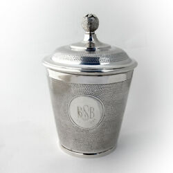 Covered Ice Bucket Pomegranate Finial Sterling Silver Portugal