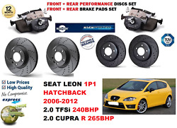 For Seat Leon 2006-2012 Front Rear Performance Drilled Brake Discs + Pads Kit