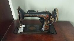 1924 Singer Sewing Treadle Sewing Machine In Tiger Oak Cabinet, 7 Drawers