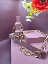 18ct Gold Curb Necklace And Bracelet. 750 Hallmark.