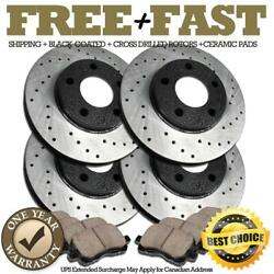 H0085 Front+rear Black Drill Brake Rotors Pads For 2007 2008 Ford Edge Awd 4wd