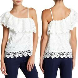 JOA One Shoulder Heavy White Lace One Shoulder Top Blouse SMALL Ruffle Party $21.90