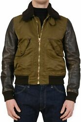 Brit Olive Poly-calf Leather Shearling Collar Flight Bomber Jacket M