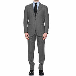 Cesare Attolini Gray Striped Lambswool Cashmere Flannel Soft Suit 52 New Us 42