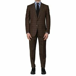 Dand039avenza Roma Handmade Brown Plaid Wool Super 130and039s Suit Eu 50 New Us 40